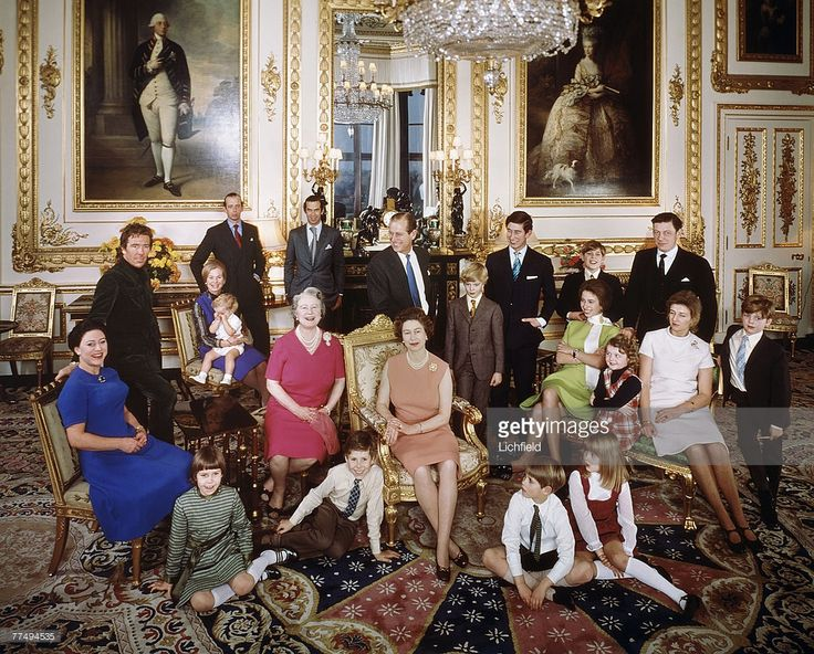 The Royal Family at Windsor Castle on 26th December 1971. Back row (left to right) The Earl of Snowdon, HRH The Duchess of Kent with Lord Nicholas Windsor, HRH The Duke of Kent, HRH Prince Michael of Kent, HRH The Duke of Edinburgh, HRH The Prince of Wales, HRH The Prince Andrew, The Hon Angus Ogilvy, centre row (left to right) HRH The Princess Margaret, HM The Queen, The Earl of St Andrews, HRH The Princess Anne, Miss Marina Ogilvy, HRH Princess Alexandra, Mr James Ogilvy, front row (left…