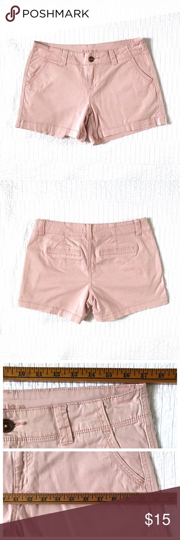 "Maurices light pink / blush chino shorts I love the relaxed cut of these chino shorts from Maurices! The perfect 5"" length isn't too short or too long. Light pink / blush color looks great w/ black, gray, white, navy, stripes and more; very versatile neutral tone. Back faux pockets means no bumps/bulges for a smooth bum. Two front pockets. Top stitching throughout. Cool, comfortable cotton with a hint of stretch. Size 11/12; see photos for measurements. In great condition! Some fading around…"