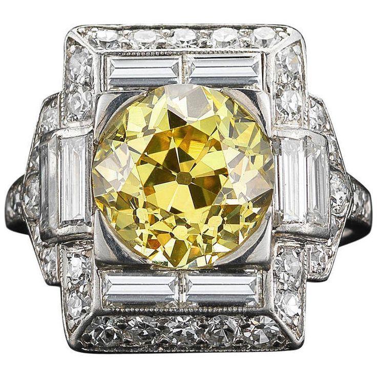 Art Deco Yellow Diamond Ring, ca. 1920s