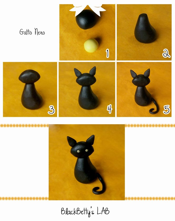 Tutorial to make a black cat from fondant from BlackBetty'sLab (directions in Italian)