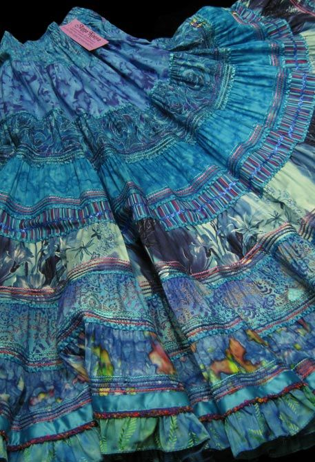 City Gypsy - use this idea as strips of blue pieced together for a skirt or dress