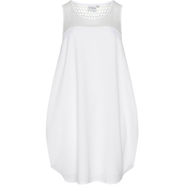 Junarose White Plus Size Embroidered mesh balloon dress (26.680 CRC) ❤ liked on Polyvore featuring dresses, plus size, white, mesh panel dress, sleeveless dress, white day dress, plus size knee length dresses and white sleeveless dress