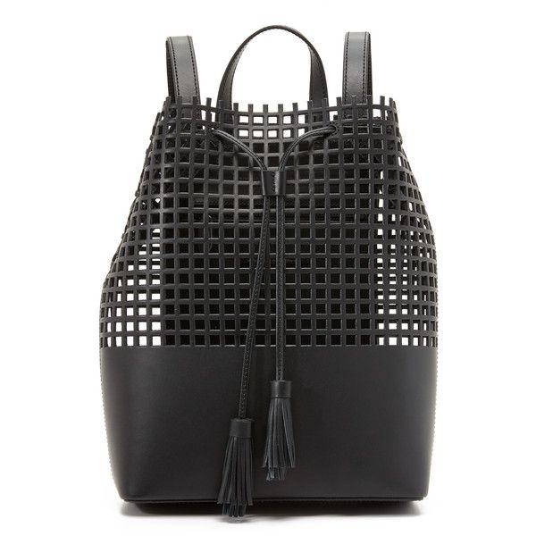 Loeffler Randall Tassel Backpack (670 CAD) ❤ liked on Polyvore featuring bags, backpacks, black, leather rucksack, leather backpack, leather drawstring bag, see through backpack ve loeffler randall