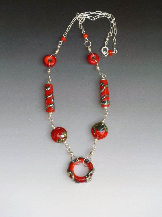 items similar to ginger necklace red turquoise lime or orange handmade glass beads with sterling silver components on etsy