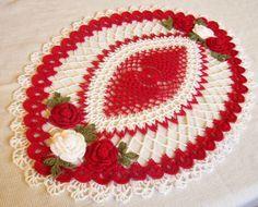 tapete de centro de mesa ovalado de rosas rojas y por Aeshagirl