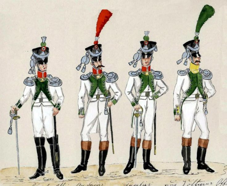 """Kingdom of Italy-officers of the line infantry 1812 from left to right: staff officer, officer of the grenadiers, Fusiliers officer, officer woltyżerów. Fig. the """"Dresden Manuscript""""."""