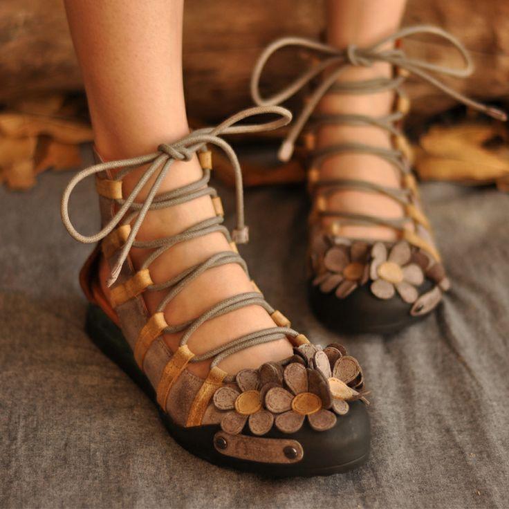 ARTMU A Mu original sweet Sen female half sandals manual brush color band hollow spring flowers leather shoes