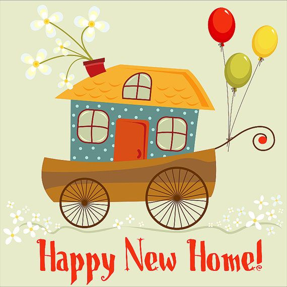 Cute happy new home card digital card clip art for New home images free