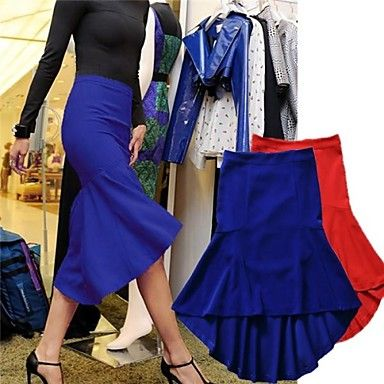 Women Spring Autumn Cotton Blue Red Skirts - USD $ 62.39