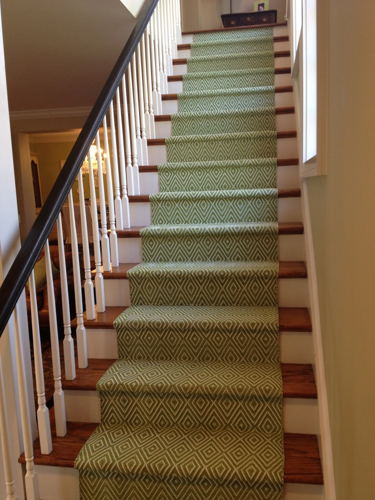 my new dash and albert stair runner on my back stairs