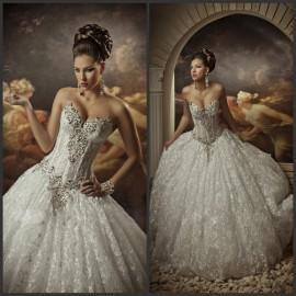#Кружева Бальное Платье# Свадебные Платья Со Стразами Корсет Милая Принцесса Платья