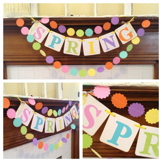 Spring Easter decoration SPRING banner Spring decoration with matching 6ft paper garland spring sign Happy Easter photo prop