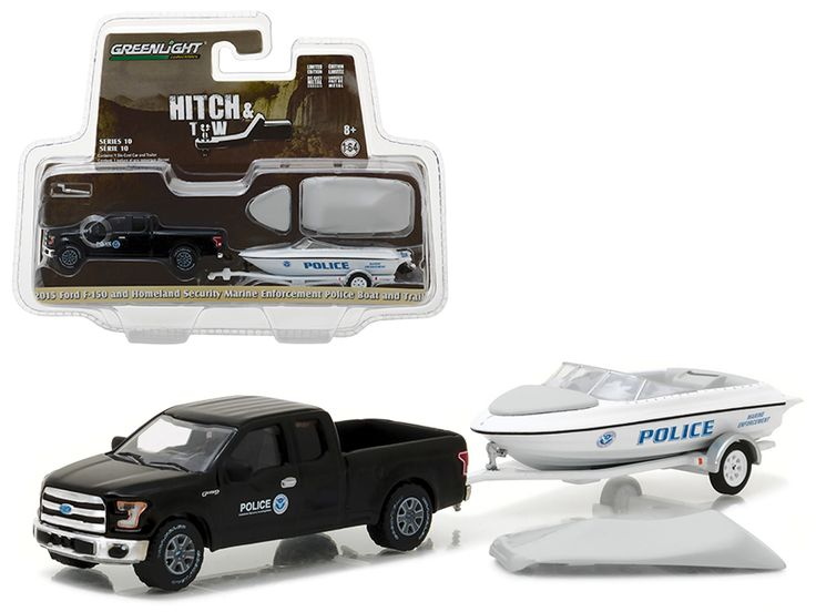 2015 Ford F-150 Pickup and Homeland Security Marine Enforcement Police Boat and Trailer Hitch & Tow Series 10 1/64 Diecast Model Car by Greenlight - Brand new 1:64 scale car model of 2015 Ford F-150 Pickup and Homeland Security Marine Enforcement Police Boat and Trailer Hitch & Tow Series 10 die cast car model by Greenlight. Limited Edition. Detailed Interior, Exterior. Metal Body. Comes in a blister pack. Officially Licensed Product. Dimensions Approximately L-7 Inches Long. All trailers…