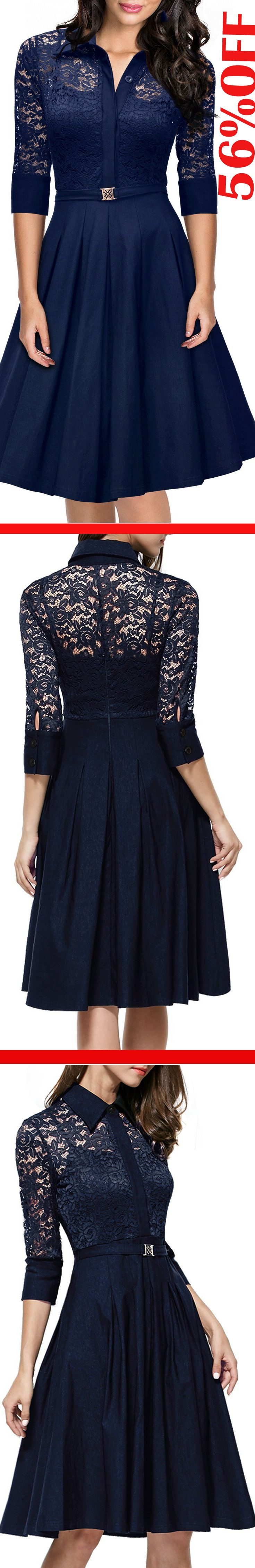 Missmay Women's Vintage 1950s Style 3/4 Sleeve Black Lace Flare A-line Dress..0% Polyester,55%Cotton,30%Chinlon,5%Spandex..Sale: $36.99 & Free Return on some sizes and colors..http://amzn.to/2ezDFJq