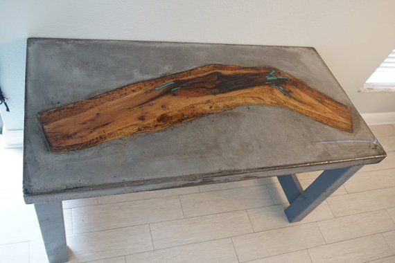 60 X 30 X 2 Concrete Table Top With Reclaimed River Oak Wood