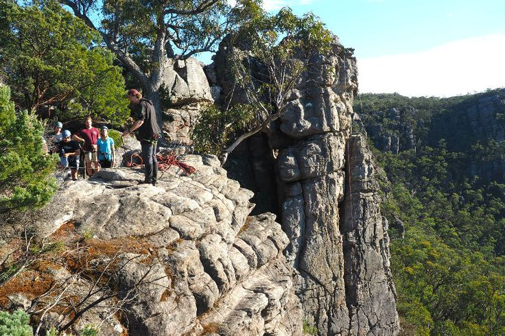 Preparing for the abseil. Check that out for an epic location! #rockclimbing #grampians