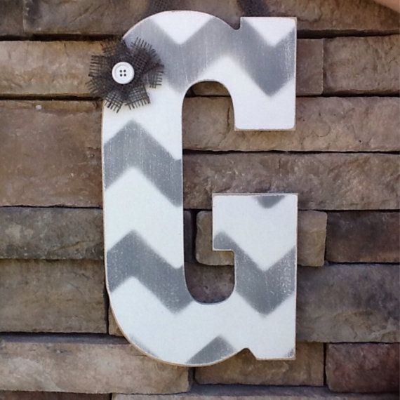Chevron Letter Chevron Monogram Wooden Letter by SewSimple4you