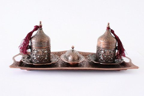 Ottoman Style Brass Turkish Coffee Set For Two