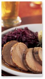Currant-Glazed Pork Tenderloin with Red Cabbage & Thyme Dumplings
