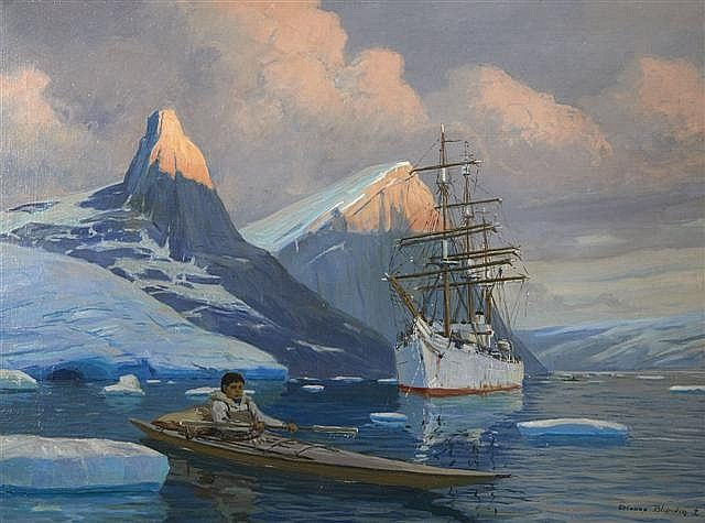 Etienne Blandin (1903-1991)  Le Pourquoi Pas Arctic  Oil on canvas, signed lower right  54 x 73 cm. (21 1/4 x 28 3/4 in.) The Pourquoi Pas commander Jean-Baptiste Charcot in the ice of the Arctic Oil on canvas, signed bottom right depicting the Commander Jean-Baptiste Charcot's Why Not in Arctic
