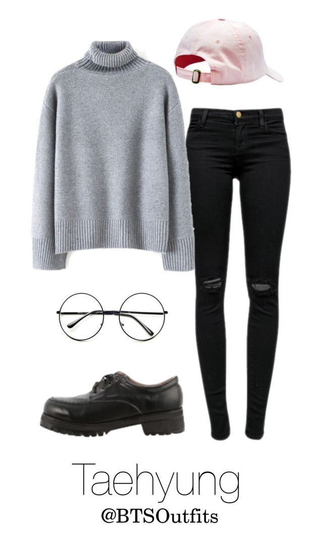 """""""Imitating Him at a Fansign: Taehyung"""" by btsoutfits ❤ liked on Polyvore featuring Retrò and J Brand"""
