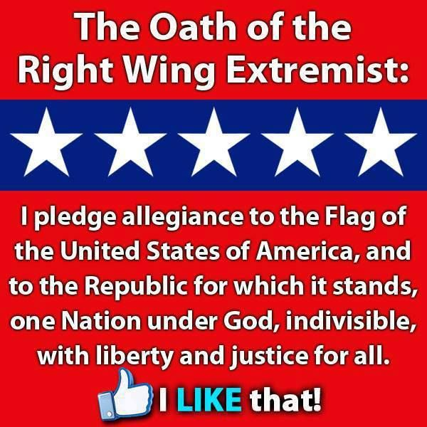 "What a sorry state our country is in that the pledge of allegiance is now considered ""extremist American""."