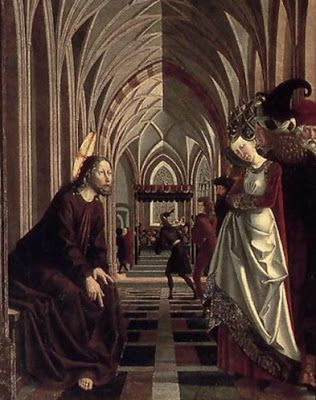 Christ and the Adulteress,St.Wolfgang Altarpiece,1479-80 Michael Pacher