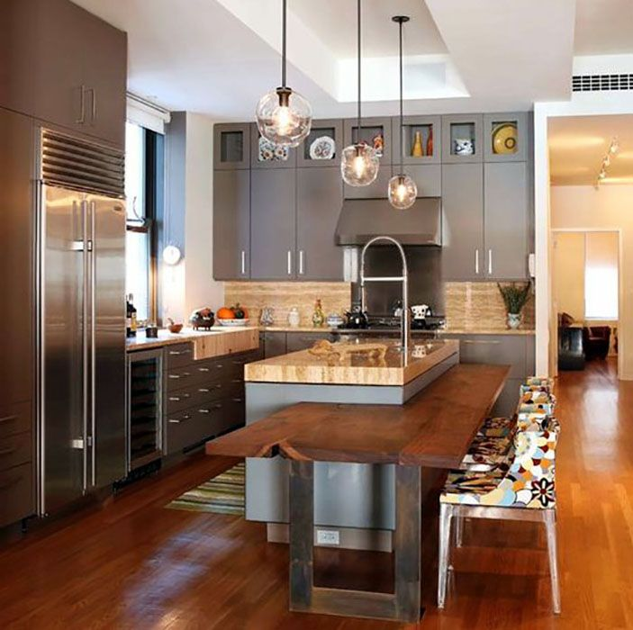 Kitchens With Black Cabinets And Dark Wood Floors