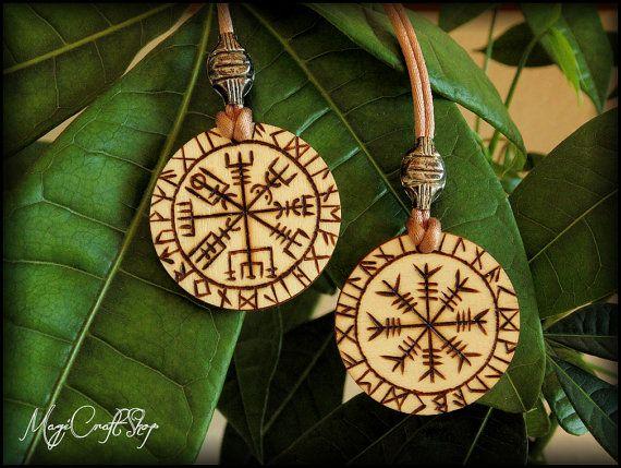 VEGVISIR Or AEGISHJALMUR medallion made on wood by magicraftshop