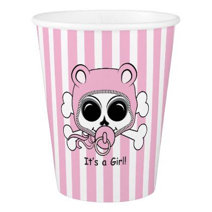 Cute Baby Girl Skull Paper Cup - baby shower ideas party babies newborn gifts