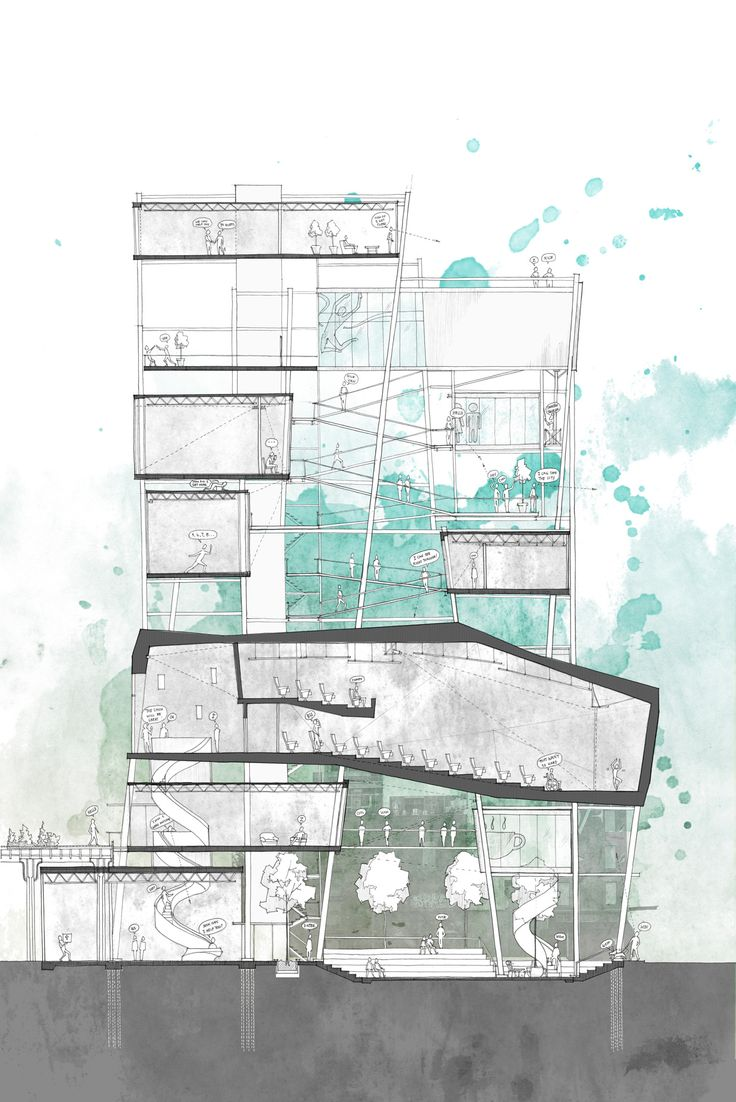 sectional drawing of first year March1 project - Dance centre - yale school of architecturea play with scaffolding and voids. more here! – http://annema.ca/331534/2340324/work/dancexprojection-machine