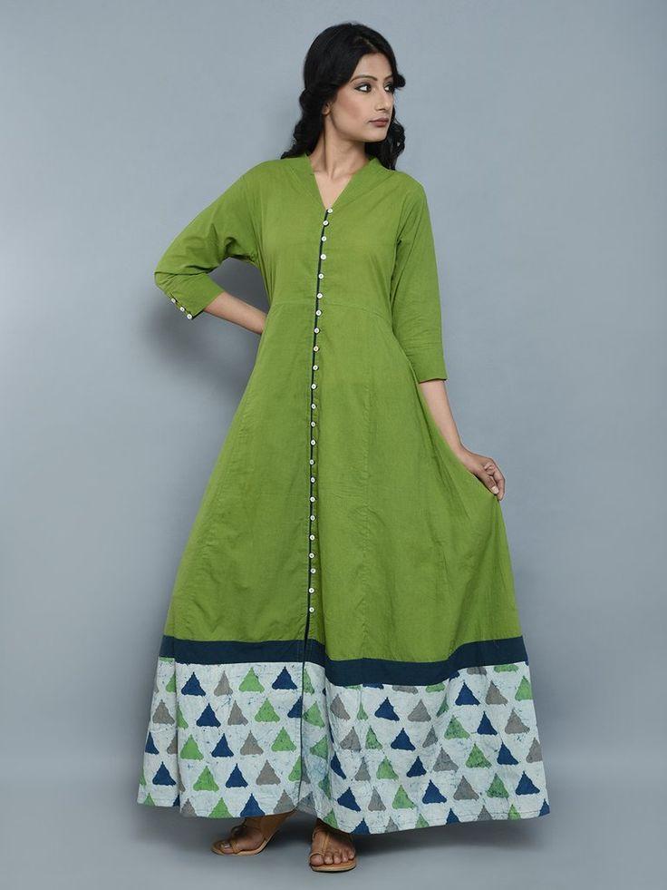 Indigo Green Cotton Flared Dress