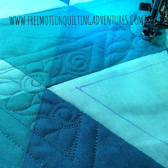 Amy's Free Motion Quilting Adventures: Quilting with Rulers: Ombre Triangles Continue