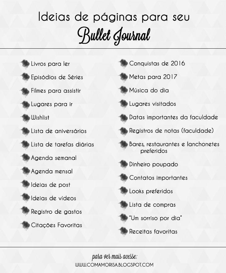 Ideias de páginas para seu Bullet Journal - Com Amor, Isa  www.comamorisa.blogspot.com | @comamorisa
