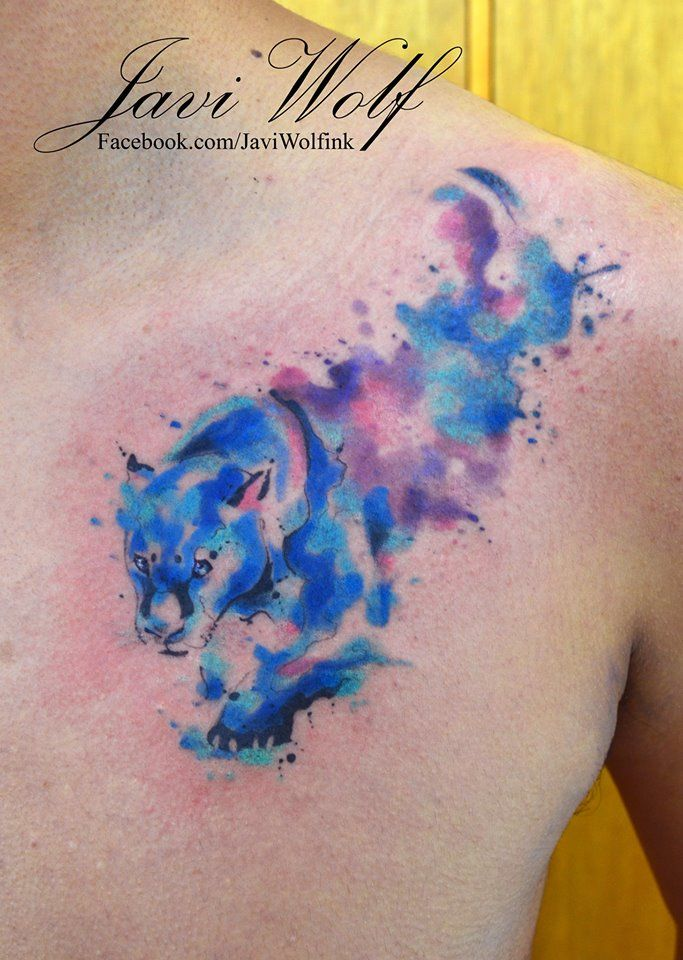 Watercolor Panther Tattoo. Tattooed by Javi Wolf For great tattoos, don't forget to follow Inkspiration World