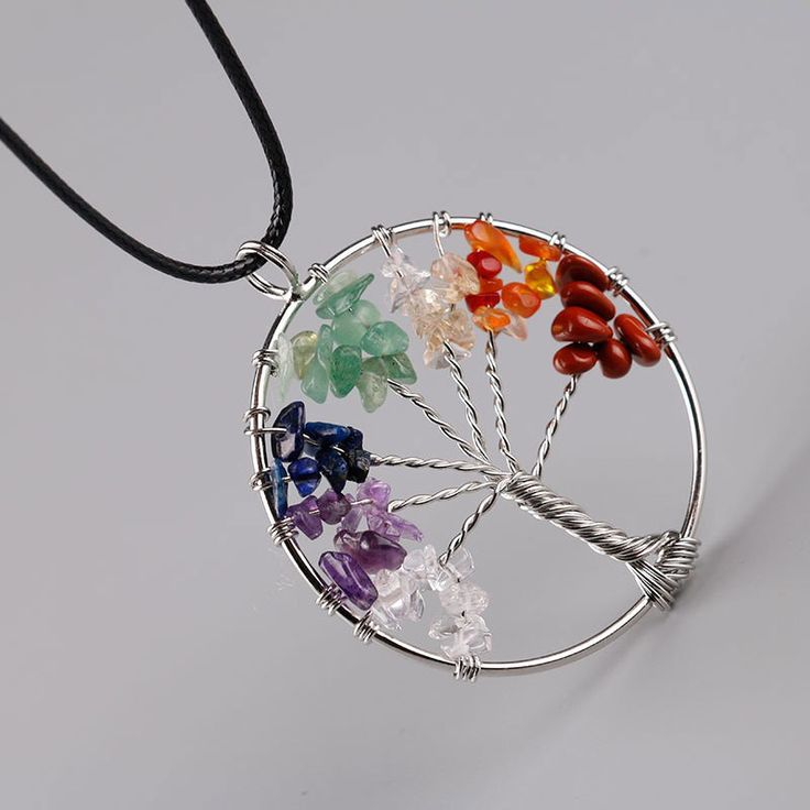 7 Chakra Tree Of Life Natural Rainbow Quartz Chips Pendant Necklace Wisdom Tree
