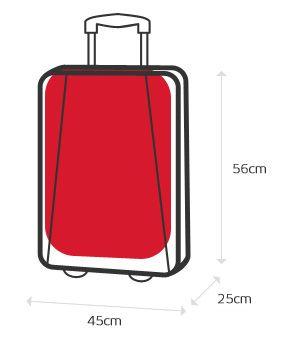 Ilustración de las dimensiones máximas permitidas para el equipaje de mano