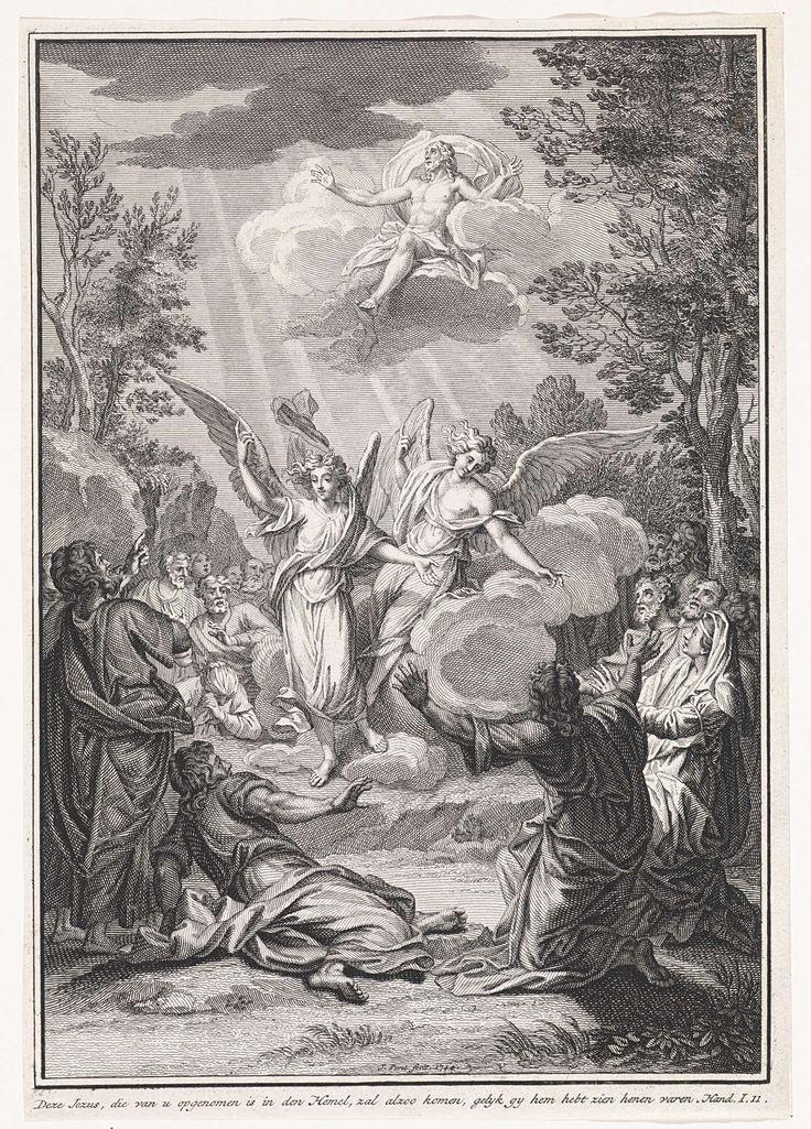 Jan Punt   Hemelvaart van Christus, Jan Punt, 1744   Landschap met de hemelvaart van Christus. Omstanders kijken vol verwondering toe. In het midden twee engelen op wolken die omhoog wijzen naar Christus, die eveneens op een wolk richting de hemel wordt gevoerd. In de marge een Bijbelcitaat uit Hand. 1:11 in het Nederlands.