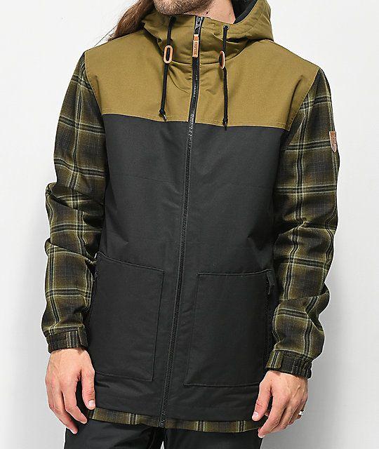 49956e7af2e Empyre Larch Olive Plaid 10K Snowboard Jacket in 2019