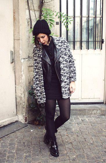 H&M Cardigan, Maje Leather Jacket, Iro Dress, Urban Outfitters Bonnet, Balenciaga Boots