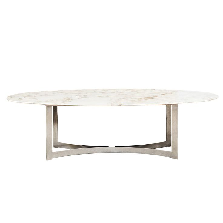 Oval marble top dining table from a unique collection of for Modern marble dining table
