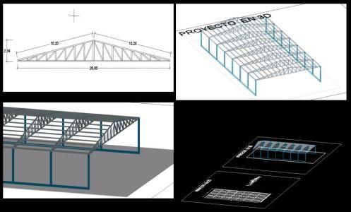 3d cubierta con estructura de tijerales (dwgDibujo de Autocad)