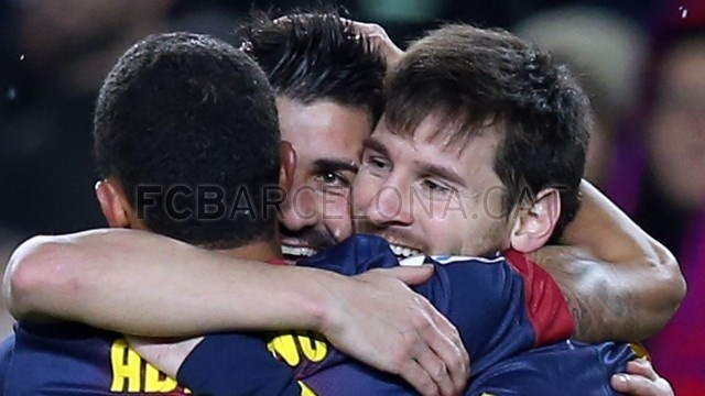 Alexis, Villa & Lio Messi, FC Barcelona. | FC Barcelona 5-1 Osasuna. 2013-01-27.