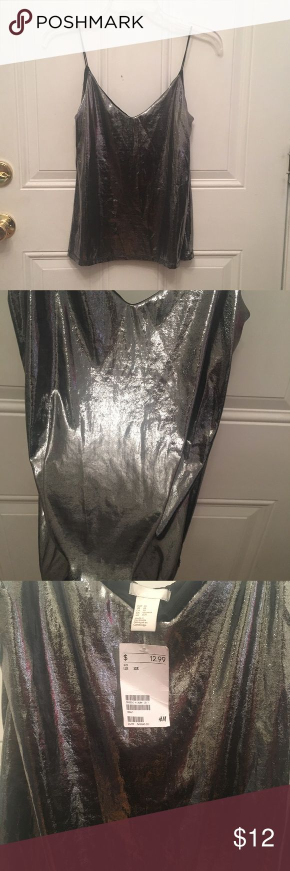 Metallic cami from H&M Metallic silver cami from H&M. Never worn, no visible markings or stains. Tag still attached. Price is evenly adjusted to what I paid with shipping and handling. H&M Tops Camisoles