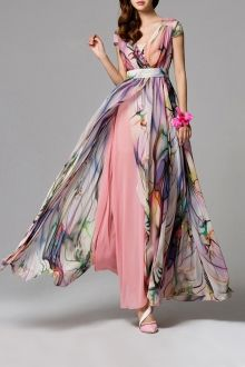 Eavnos Shallow Pink Split Floral Maxi Dress | Maxi Dresses at DEZZAL