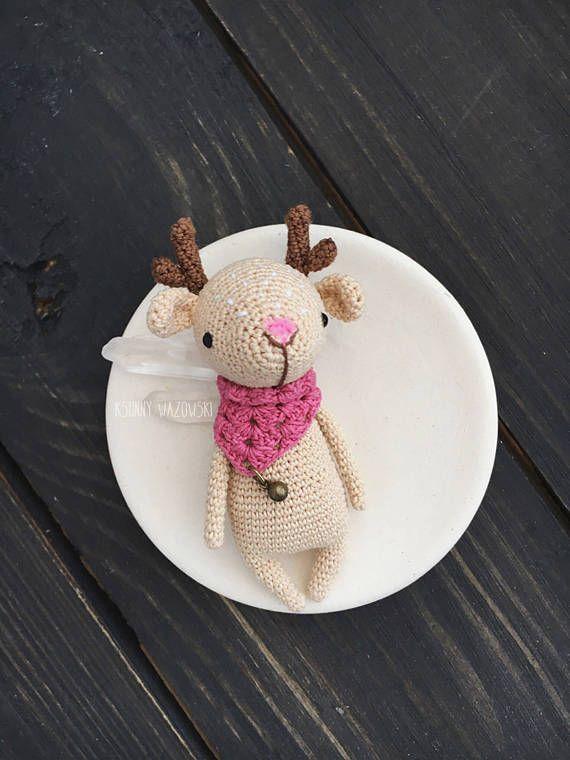 Brooch Deer Broash Deer Crochet deer