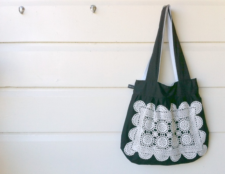 Very peachy black doily shoulder bag, $48.00