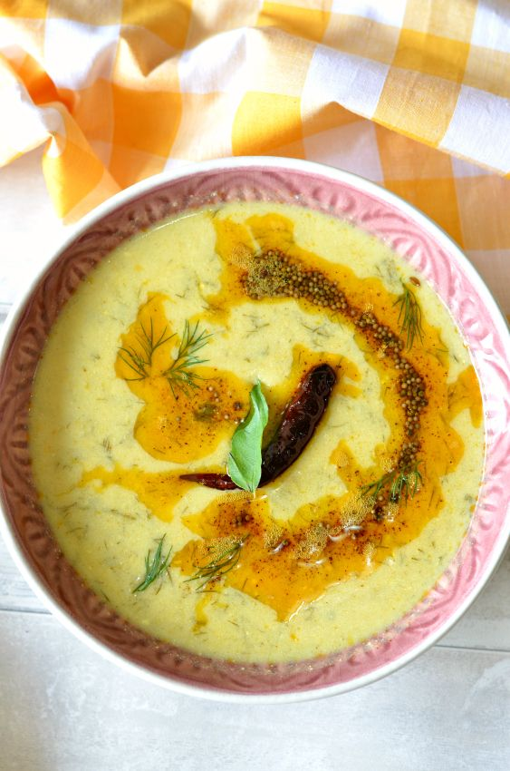 Gujarati suva kadhi (Dill leaves in yogurt based curry) - Easy and healthy curry makes a perfect rice accomplishment.