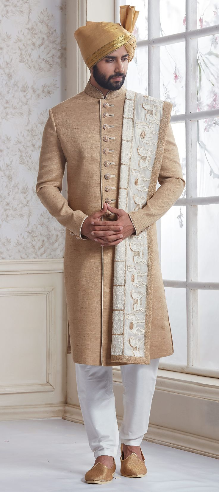 506233: Beige and Brown color family stitched Sherwani .