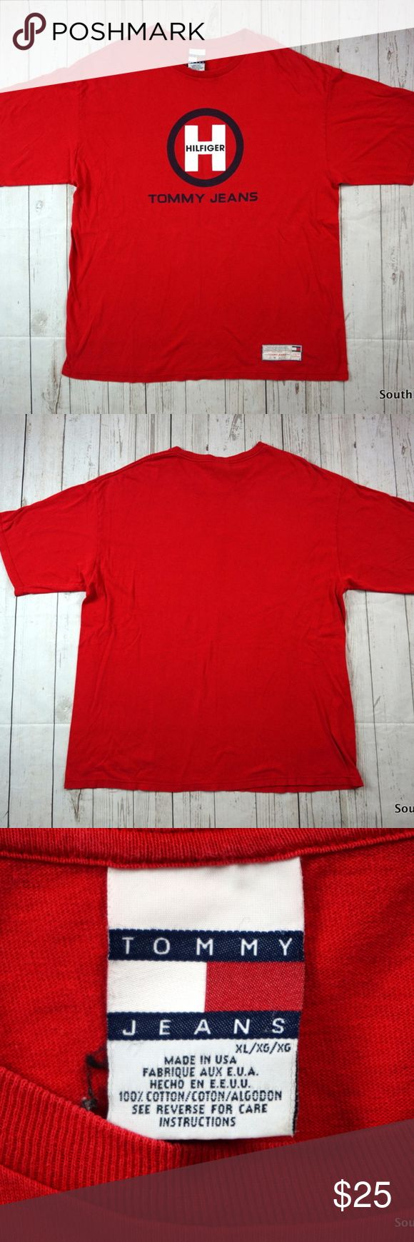 """VTG 90s Tommy Jeans T-Shirt, Tommy Hilfiger XL Vintage 90s Tommy Jeans T-Shirt, Tommy Hilfiger T-Shirt, Men's XL, Extra Large, Red, 90s Fashion, Vintage Tommy, Tommy Jeans, VTG  Brand:    Tommy Hilfiger Color:     Red Size:       Men's Extra Large, XL     Material: 100% Cotton     Detailed Measurements: (Front Side of Garment has been measured laying flat on a table)  Sleeves:......... 10.5"""" inches  Chest:............ 25.5"""" inches Length:…......   32.5"""" inches  Ships in 1 business day or…"""